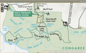 Congaree National Park Trail Map BetterExploringcom